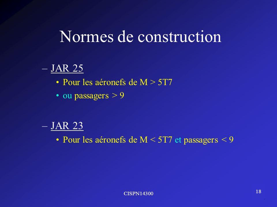CISPN14300 18 Normes de construction –JAR 25 Pour les aéronefs de M > 5T7 ou passagers > 9 –JAR 23 Pour les aéronefs de M < 5T7 et passagers < 9