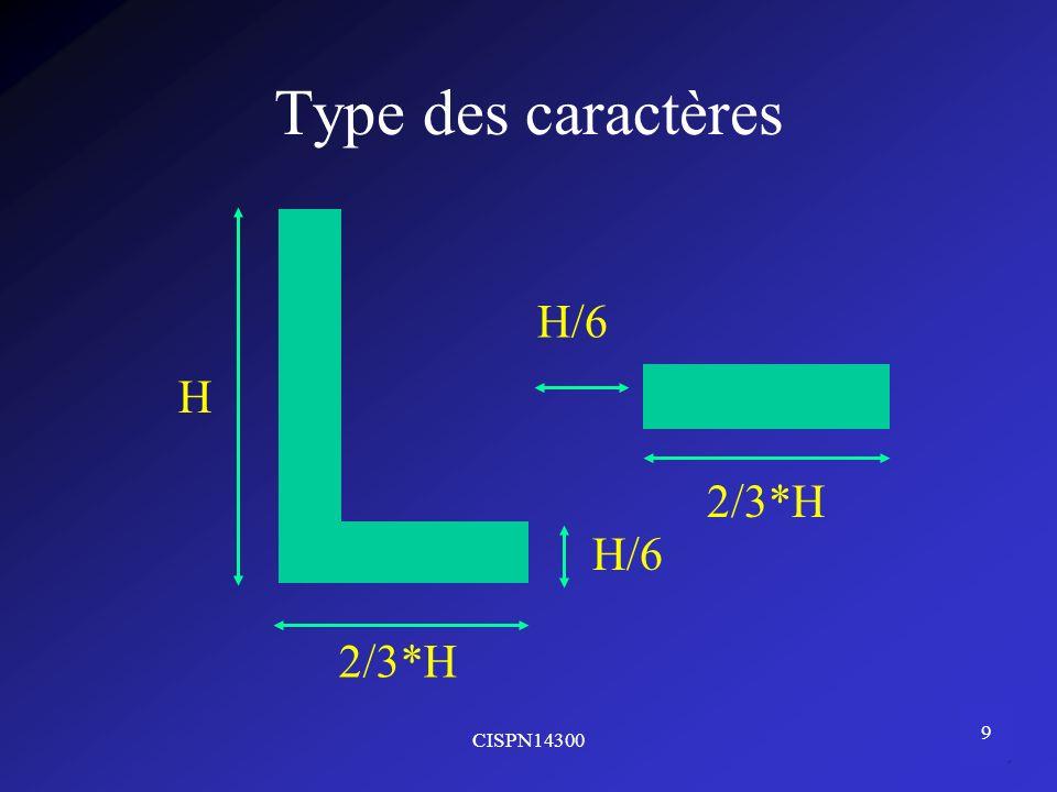 CISPN14300 9 Type des caractères H 2/3*H H/6 2/3*H
