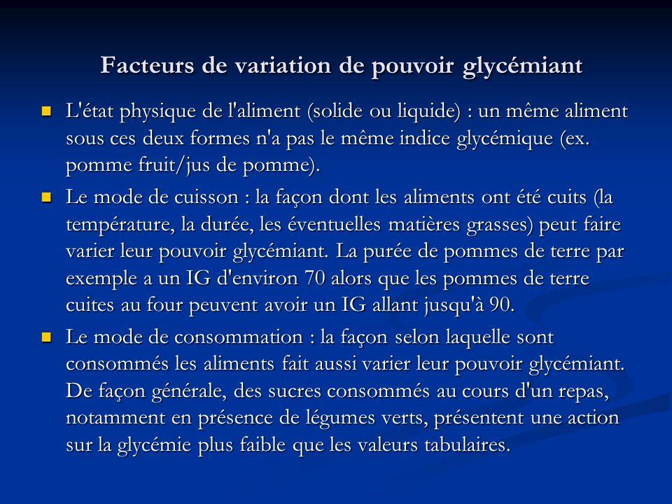 Facteurs de variation de pouvoir glycémiant Facteurs de variation de pouvoir glycémiant L'état physique de l'aliment (solide ou liquide) : un même ali