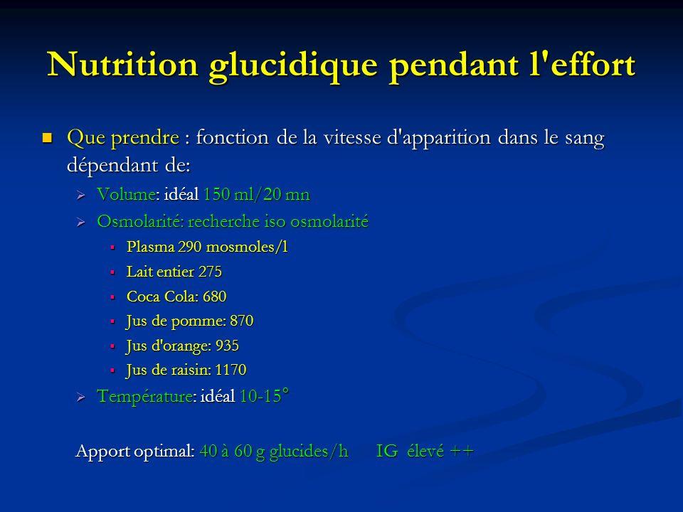 Nutrition glucidique pendant l'effort Que prendre : fonction de la vitesse d'apparition dans le sang dépendant de: Que prendre : fonction de la vitess