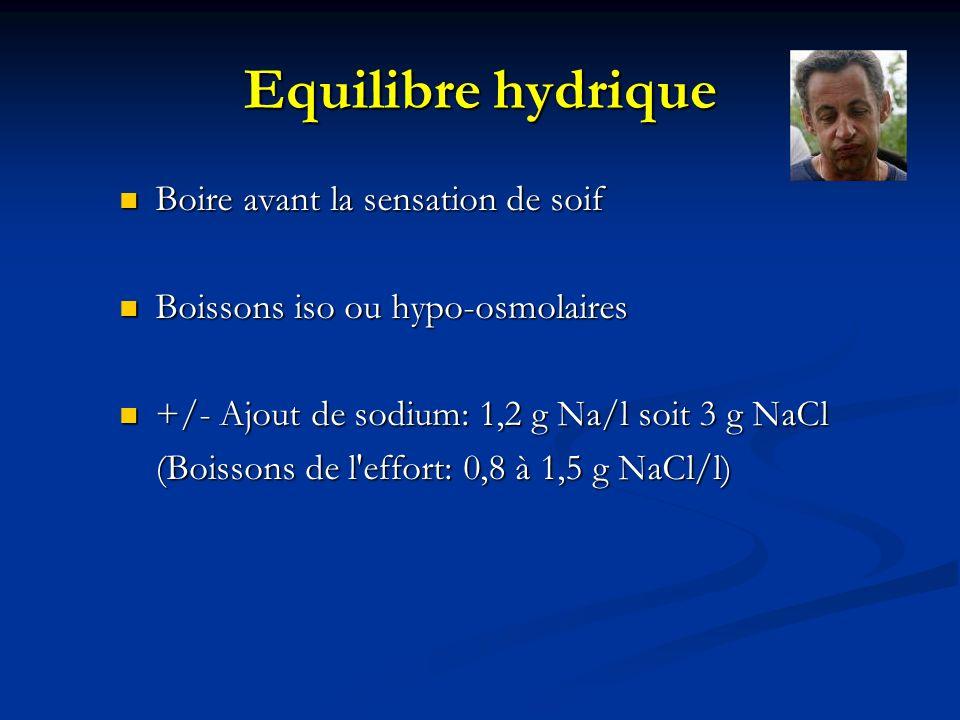 Equilibre hydrique Boire avant la sensation de soif Boire avant la sensation de soif Boissons iso ou hypo-osmolaires Boissons iso ou hypo-osmolaires +
