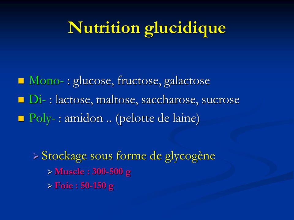Nutrition glucidique Mono- : glucose, fructose, galactose Mono- : glucose, fructose, galactose Di- : lactose, maltose, saccharose, sucrose Di- : lacto