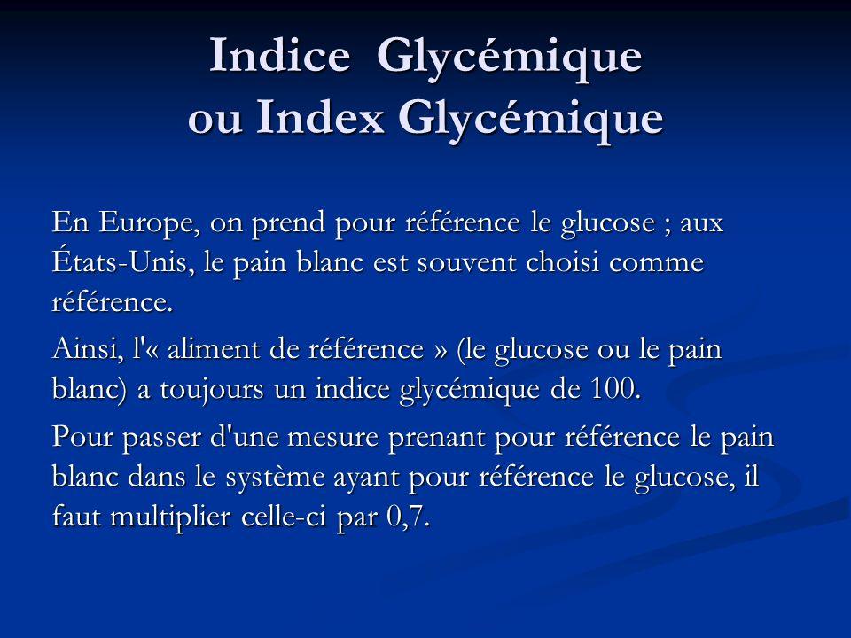 Indice Glycémique ou Index Glycémique En Europe, on prend pour référence le glucose ; aux États-Unis, le pain blanc est souvent choisi comme référence