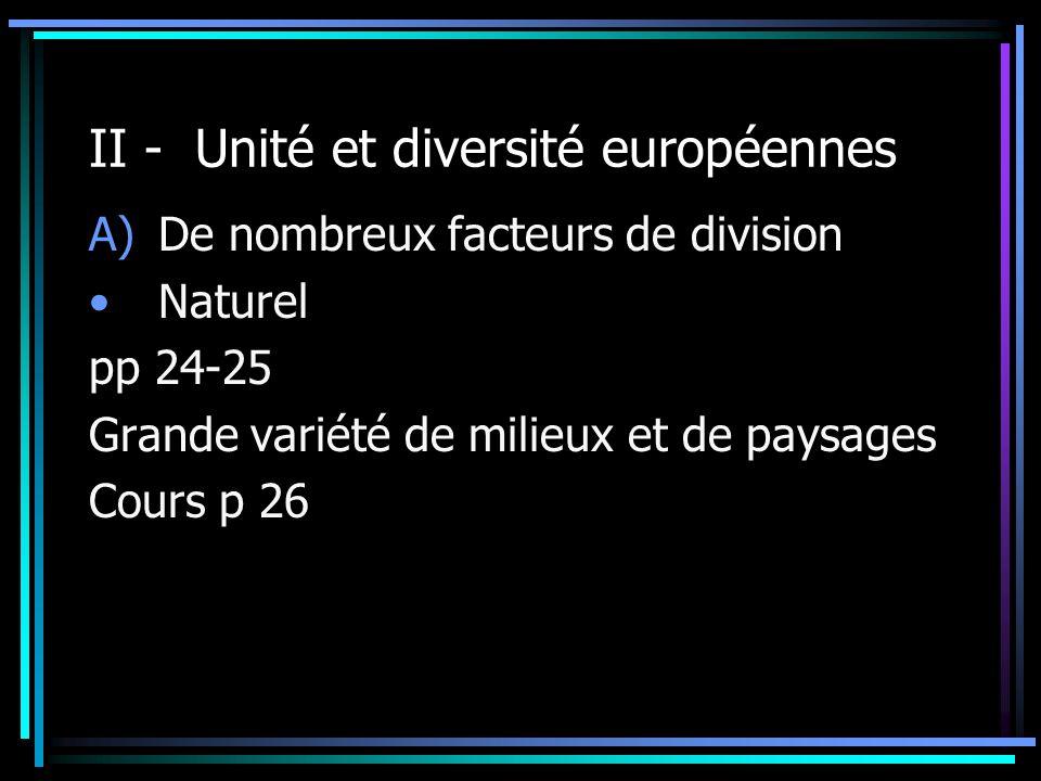 II - Unité et diversité européennes A)De nombreux facteurs de division Naturel pp 24-25 Grande variété de milieux et de paysages Cours p 26