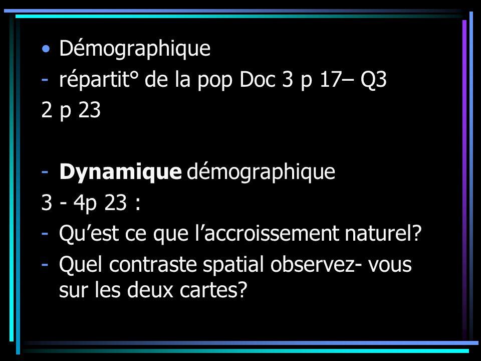 Démographique -répartit° de la pop Doc 3 p 17– Q3 2 p 23 -Dynamique démographique 3 - 4p 23 : -Quest ce que laccroissement naturel? -Quel contraste sp