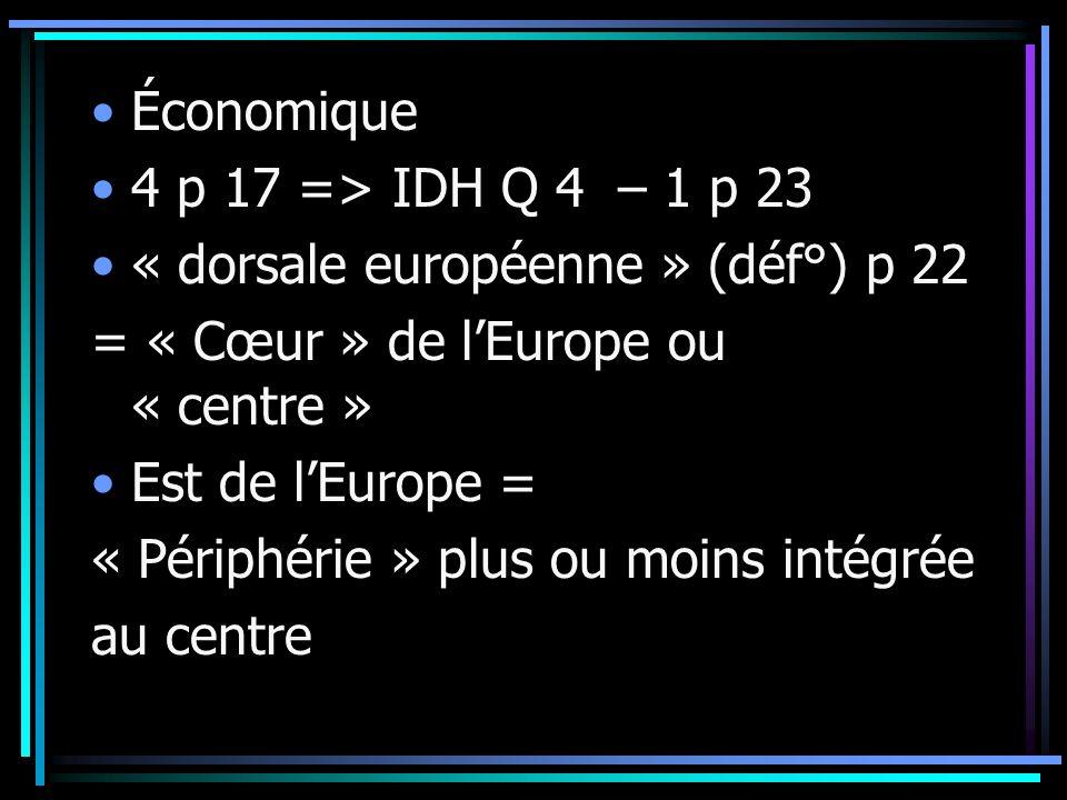 Économique 4 p 17 => IDH Q 4 – 1 p 23 « dorsale européenne » (déf°) p 22 = « Cœur » de lEurope ou « centre » Est de lEurope = « Périphérie » plus ou moins intégrée au centre