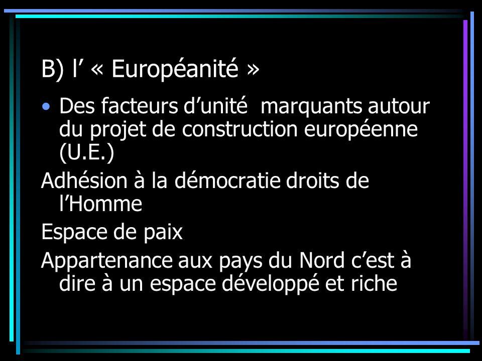 B) l « Européanité » Des facteurs dunité marquants autour du projet de construction européenne (U.E.) Adhésion à la démocratie droits de lHomme Espace de paix Appartenance aux pays du Nord cest à dire à un espace développé et riche