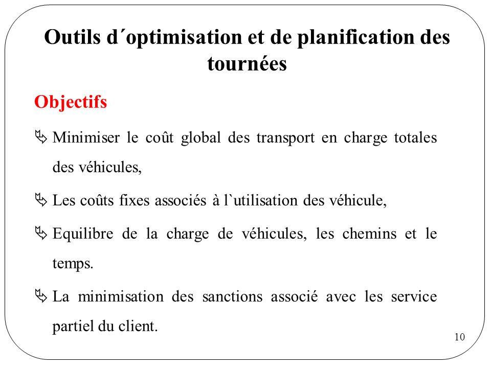 10 Outils d´optimisation et de planification des tournées Objectifs Minimiser le coût global des transport en charge totales des véhicules, Les coûts