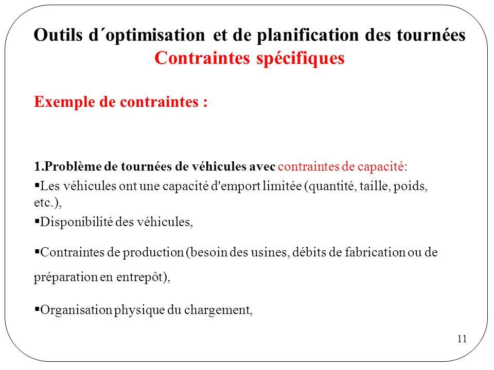 11 Outils d´optimisation et de planification des tournées Contraintes spécifiques Exemple de contraintes : 1.Problème de tournées de véhicules avec co