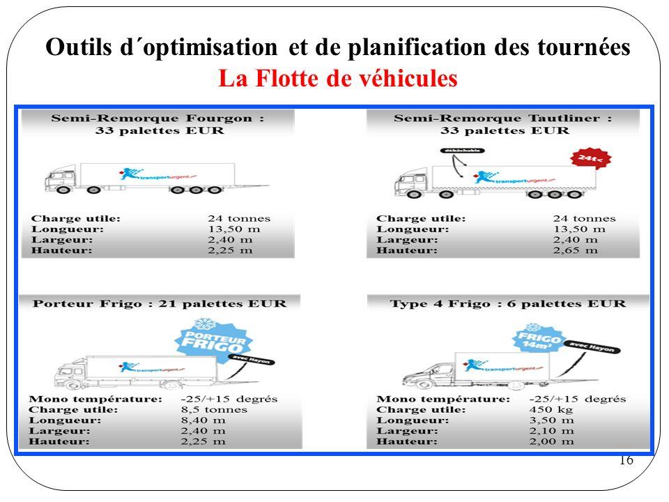 16 Outils d´optimisation et de planification des tournées La Flotte de véhicules