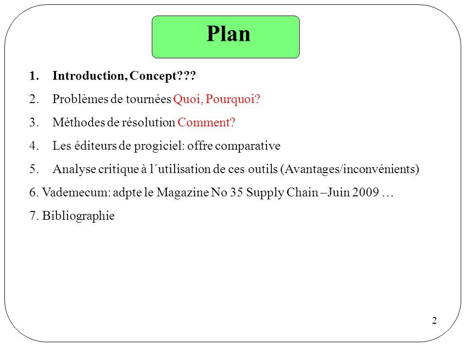 2 Plan 1.Introduction, Concept??? 2.Problèmes de tournées Quoi, Pourquoi? 3.Méthodes de résolution Comment? 4.Les éditeurs de progiciel: offre compara