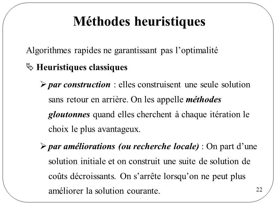 22 Méthodes heuristiques Algorithmes rapides ne garantissant pas loptimalité Heuristiques classiques par construction : elles construisent une seule s