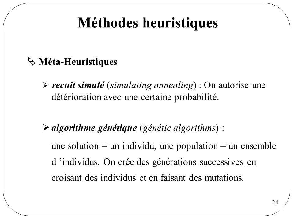 24 Méthodes heuristiques Méta-Heuristiques recuit simulé (simulating annealing) : On autorise une détérioration avec une certaine probabilité. algorit