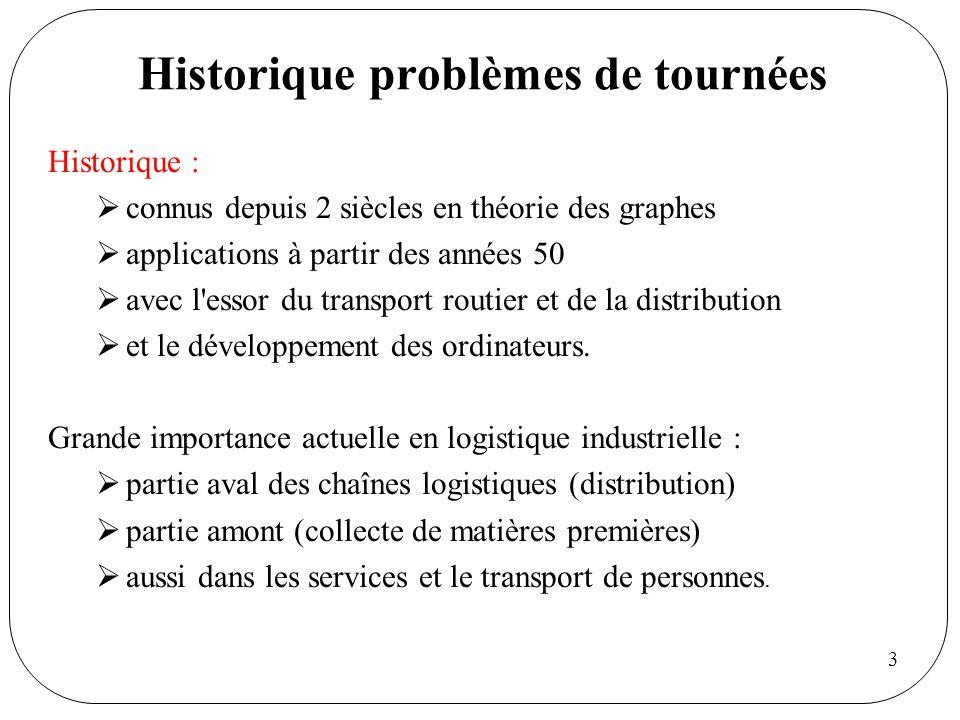 3 Historique problèmes de tournées Historique : connus depuis 2 siècles en théorie des graphes applications à partir des années 50 avec l'essor du tra