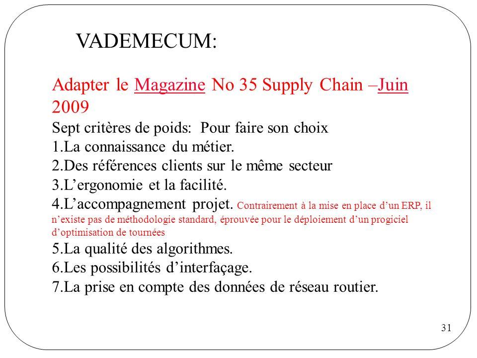 31 VADEMECUM: Adapter le Magazine No 35 Supply Chain –Juin 2009MagazineJuin Sept critères de poids: Pour faire son choix 1.La connaissance du métier.