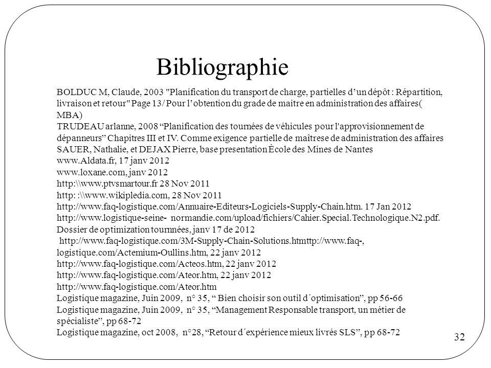 32 Bibliographie BOLDUC M, Claude, 2003