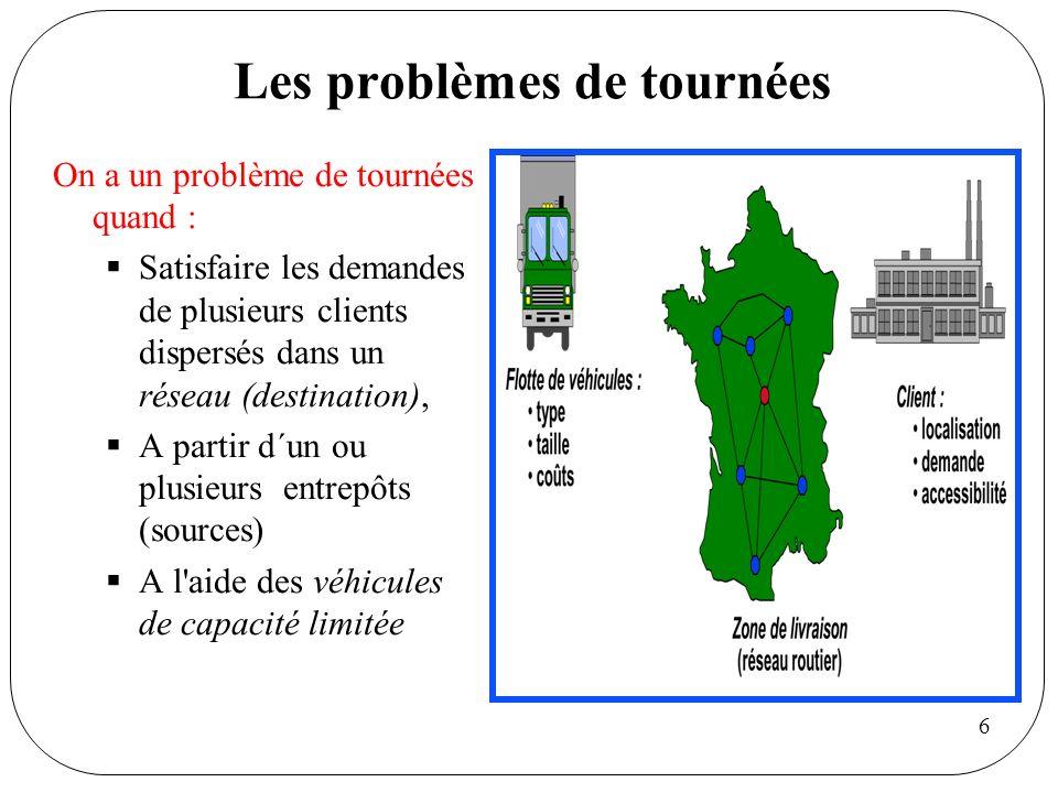 6 Les problèmes de tournées On a un problème de tournées quand : Satisfaire les demandes de plusieurs clients dispersés dans un réseau (destination),