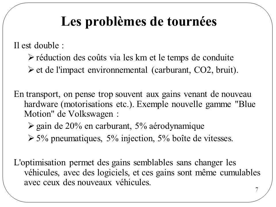 7 Les problèmes de tournées Il est double : réduction des coûts via les km et le temps de conduite et de l'impact environnemental (carburant, CO2, bru