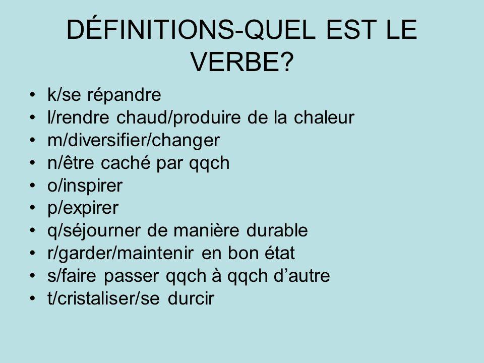 DÉFINITIONS-QUEL EST LE VERBE.