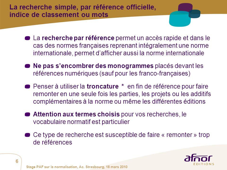 1 / Pour personnaliser les références : Affichage / En-tête et pied de page Personnaliser la zone Pied de page, Faire appliquer partout 7 Stage PAF sur la normalisation, Ac.