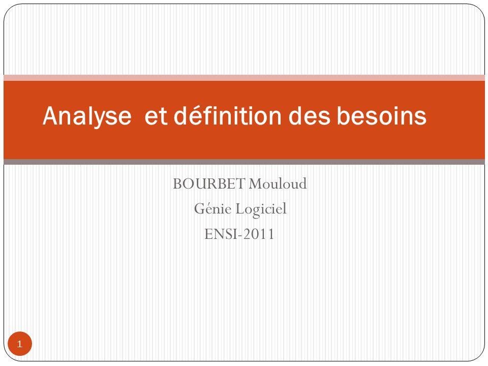 BOURBET Mouloud Génie Logiciel ENSI-2011 1 Analyse et définition des besoins