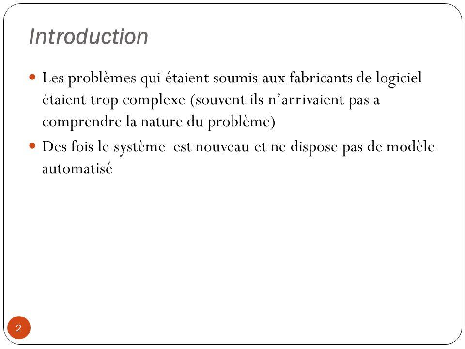 Introduction 2 Les problèmes qui étaient soumis aux fabricants de logiciel étaient trop complexe (souvent ils narrivaient pas a comprendre la nature d