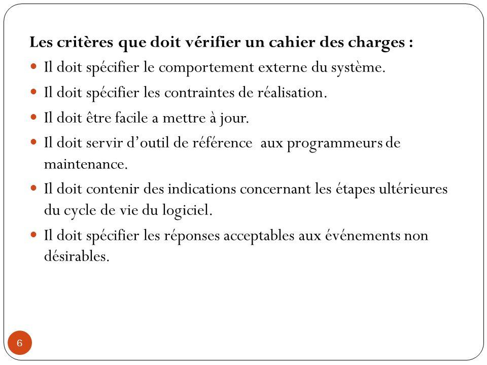 6 Les critères que doit vérifier un cahier des charges : Il doit spécifier le comportement externe du système. Il doit spécifier les contraintes de ré