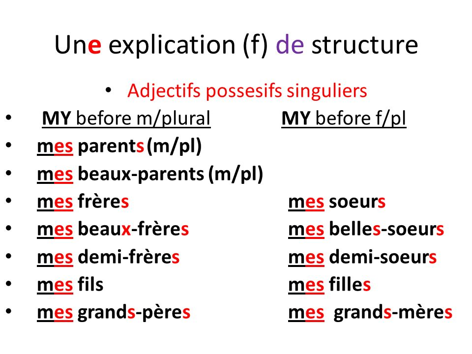 Une explication (f) de structure Adjectifs possesifs singuliers MY before m/plural MY before f/pl mes parents(m/pl) mes beaux-parents (m/pl) mes frère