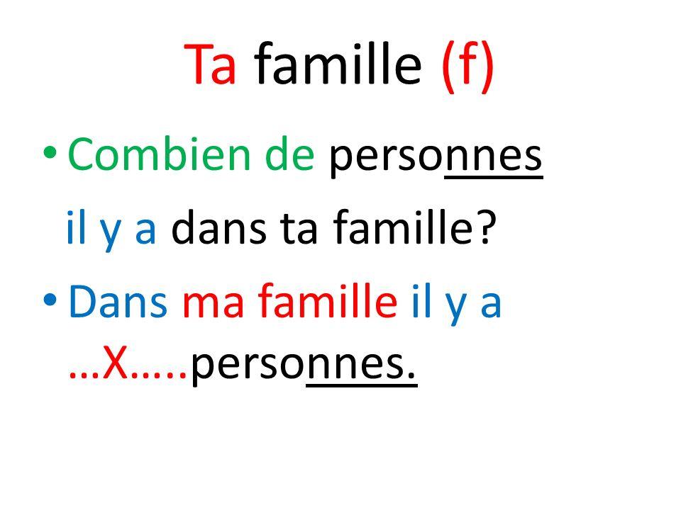 Dans ma famille il y a Mon père (m)/ mon beau-père(m) Ma mère (f) / ma belle-mère (f) Mon frère (m)/ mon beau-frère (m)/ mon demi-frère (m) Ma soeur (f)/ ma belle-soeur (f)/ ma demi-soeur (f)