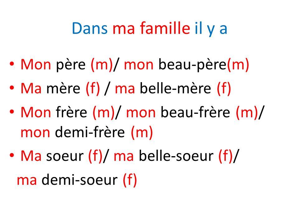 Dans ma famille il y a Mon père (m)/ mon beau-père(m) Ma mère (f) / ma belle-mère (f) Mon frère (m)/ mon beau-frère (m)/ mon demi-frère (m) Ma soeur (