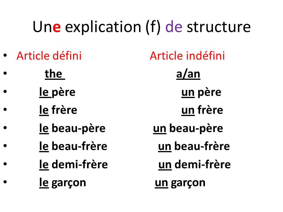 Une explication (f) de structure Article défini Article indéfini the a/an le père un père le frère un frère le beau-père un beau-père le beau-frère un