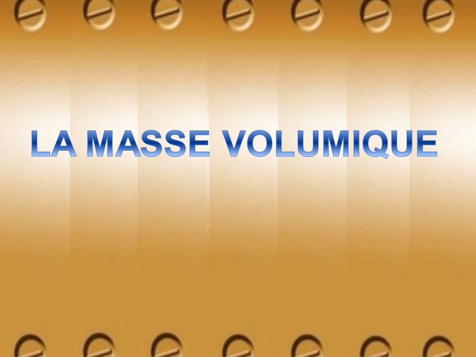 La masse volumique est une mesure de la masse contenue dans un volume donné.
