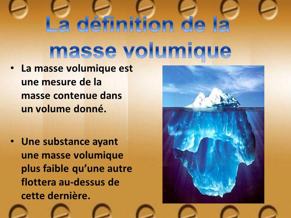 La masse volumique est une mesure de la masse contenue dans un volume donné. Une substance ayant une masse volumique plus faible quune autre flottera