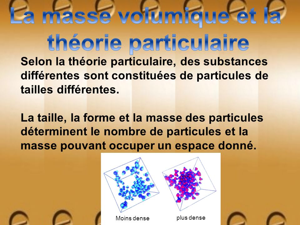 Selon la théorie particulaire, des substances différentes sont constituées de particules de tailles différentes. La taille, la forme et la masse des p