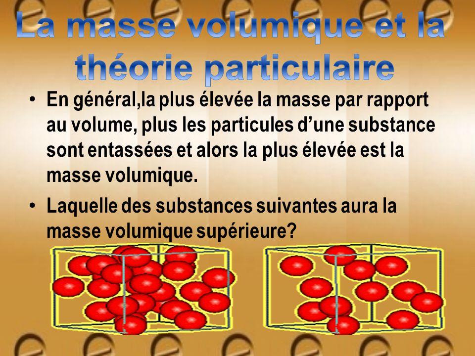 En général,la plus élevée la masse par rapport au volume, plus les particules dune substance sont entassées et alors la plus élevée est la masse volum