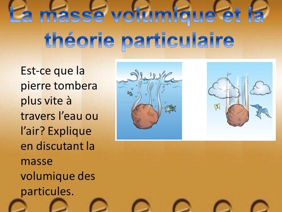 Est-ce que la pierre tombera plus vite à travers leau ou lair? Explique en discutant la masse volumique des particules.