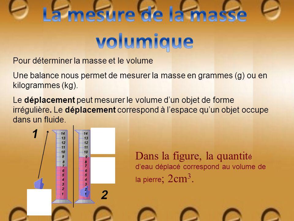 Pour déterminer la masse et le volume Une balance nous permet de mesurer la masse en grammes (g) ou en kilogrammes (kg). Le déplacement peut mesurer l
