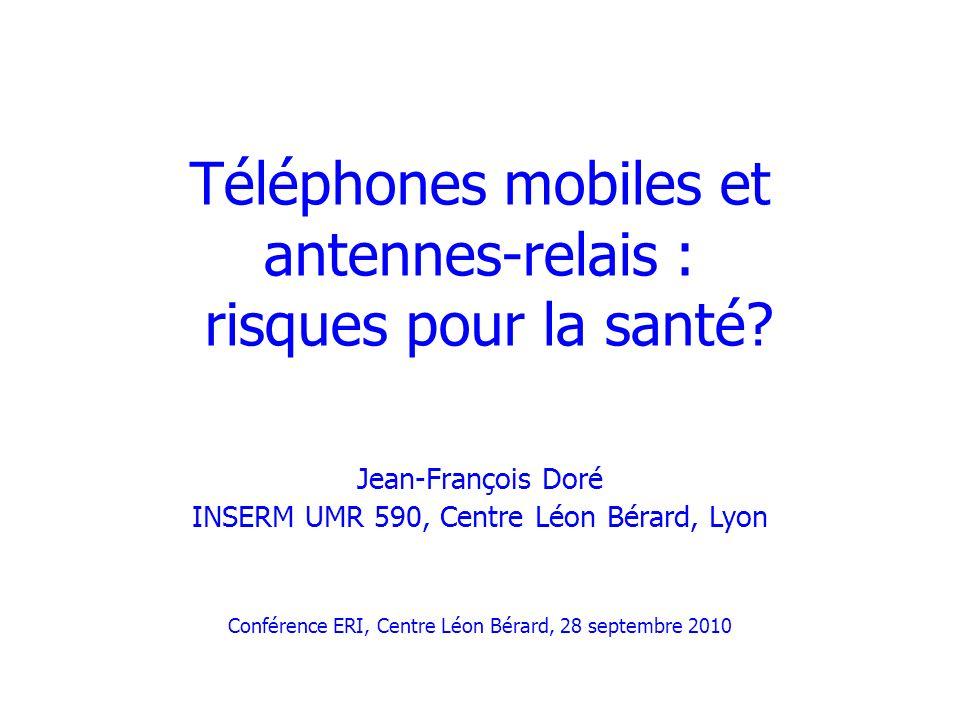 La téléphonie mobile en chiffres Développement explosif depuis une vingtaine dannées: –Téléphones mobiles (GSM, UMTS) –Accès Internet sans fil –Usages nomades, DECT Monde: 750 000 abonnements en 1985, 3,3 milliards en 2007 (OCDE) France: –61,9 millions abonnements en juin 2010 (progression 4,2% /12 dernier mois); pénétration : 95,8% (ARCEP) –70 000 stations de base (au total: 140 000 stations radioélectriques: 12 000 radio TV, 58 000 réseaux radio professionnels, police, SAMU…)