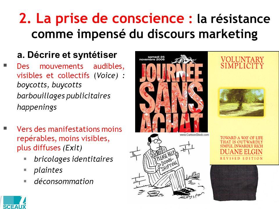 2. La prise de conscience : la résistance comme impensé du discours marketing Des mouvements audibles, visibles et collectifs (Voice) : boycotts, buyc