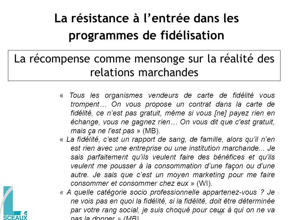 La résistance à lentrée dans les programmes de fidélisation La récompense comme mensonge sur la réalité des relations marchandes « Tous les organismes