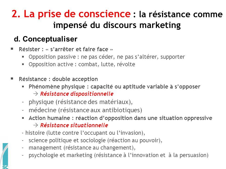 2. La prise de conscience : la résistance comme impensé du discours marketing d. Conceptualiser Résister : « sarrêter et faire face » Opposition passi