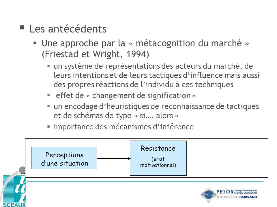 Les antécédents Une approche par la « métacognition du marché » (Friestad et Wright, 1994) un système de représentations des acteurs du marché, de leu