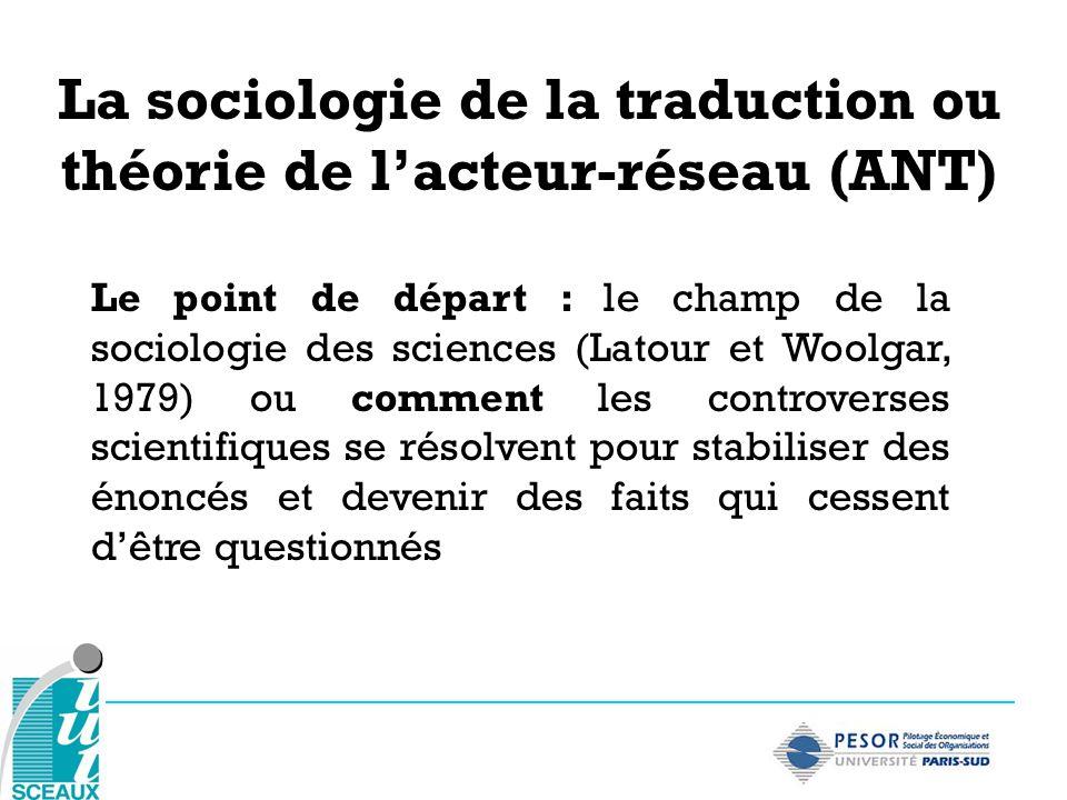 Le point de départ : le champ de la sociologie des sciences (Latour et Woolgar, 1979) ou comment les controverses scientifiques se résolvent pour stab