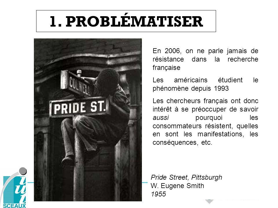 1. PROBLÉMATISER Pride Street, Pittsburgh W. Eugene Smith 1955 En 2006, on ne parle jamais de résistance dans la recherche française Les américains ét