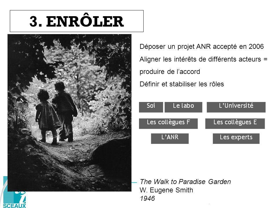 3. ENRÔLER The Walk to Paradise Garden W. Eugene Smith 1946 Déposer un projet ANR accepté en 2006 Aligner les intérêts de différents acteurs = produir