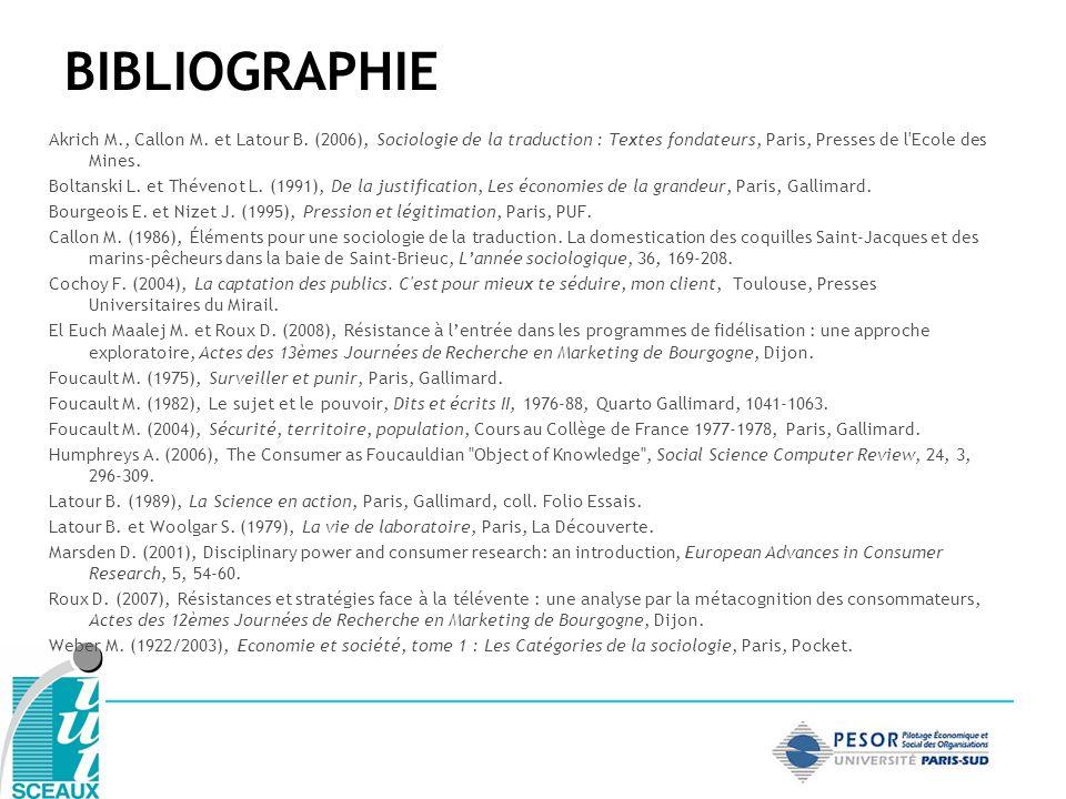 BIBLIOGRAPHIE Akrich M., Callon M. et Latour B. (2006), Sociologie de la traduction : Textes fondateurs, Paris, Presses de l'Ecole des Mines. Boltansk