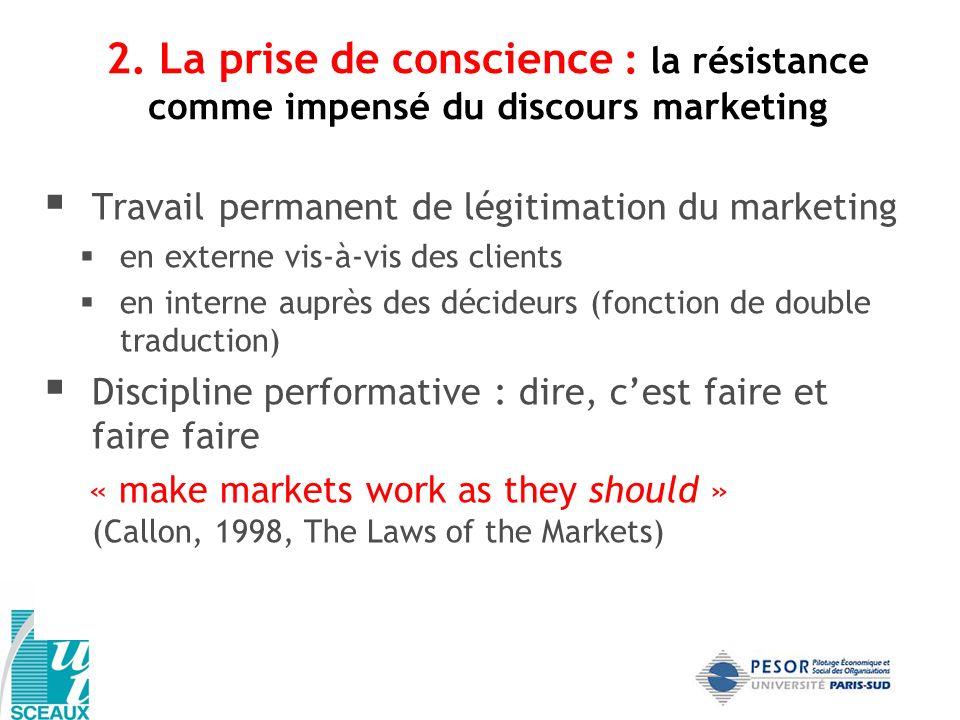 2. La prise de conscience : la résistance comme impensé du discours marketing Travail permanent de légitimation du marketing en externe vis-à-vis des