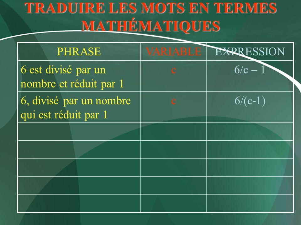 TRADUIRE LES MOTS EN TERMES MATHÉMATIQUES PHRASEVARIABLEEXPRESSION 6 est divisé par un nombre et réduit par 1 c6/c – 1 6, divisé par un nombre qui est
