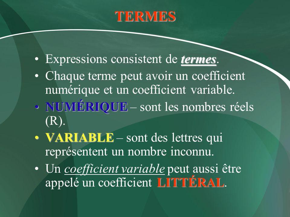 TERMES termesExpressions consistent de termes. Chaque terme peut avoir un coefficient numérique et un coefficient variable. NUMÉRIQUENUMÉRIQUE – sont