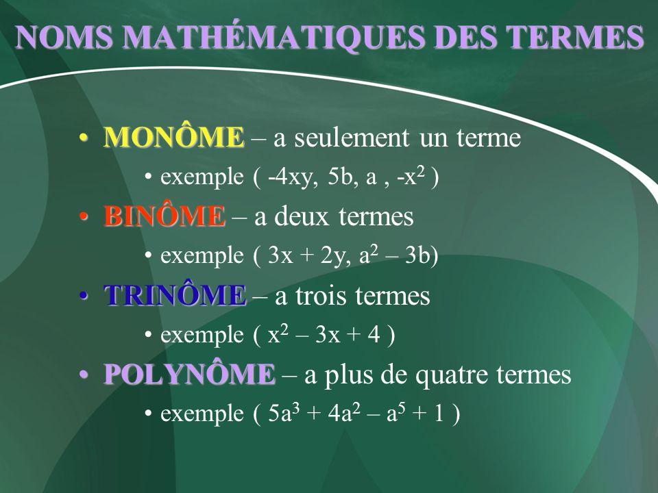 NOMS MATHÉMATIQUES DES TERMES MONÔMEMONÔME – a seulement un terme exemple ( -4xy, 5b, a, -x 2 ) BINÔMEBINÔME – a deux termes exemple ( 3x + 2y, a 2 –